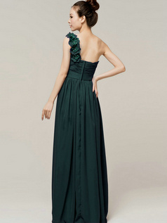 A-Line Sweetheart One shoulder with Flowers Wrap Pleats Dark Green Bridesmaid Dresses