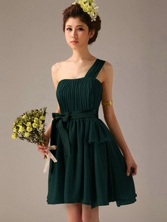 A-Line One Shoulder Bowknot Sash Dark Green Pleats Short Bridesmaid Dresses