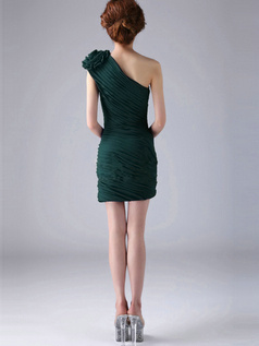 Sheath One Shoulder with Flower Short Ruched Dark Green Bridesmaid Dresses