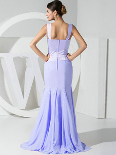 Mermaid Chiffon Straps Lavender Bridesmaid Dresses