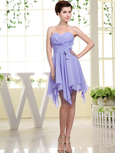 A-line Chiffon Sweetheart Bowknot Short Lavender Bridesmaid Dresses