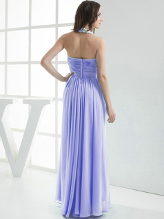 Column Chiffon Halter Floor-length Pleats Lavender Bridesmaid Dresses