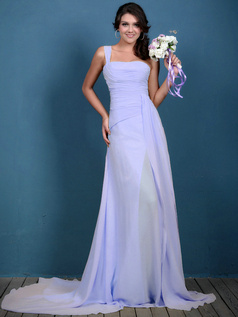 A-line Chiffon Ruched One Shoulder Sweep Lavender Bridesmaid Dresses