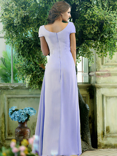 Modest A-line Chiffon Short Sleeves Cowl Neck Ankle-length Draped Front  Lavender Bridesmaid Dresses