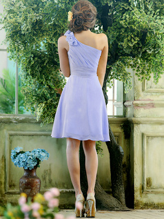 A-line Chiffon One shoulder with Flowers Knee-length Daffodil Sash Lavender Bridesmaid Dresses