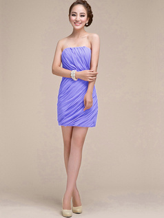 Sheath Ruched Tube Top Strapless Short Lavender Bridesmaid Dresses