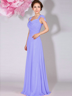 A-Line Sweetheart Straps Draped Floor Length Lavender Bridesmaid Dresses