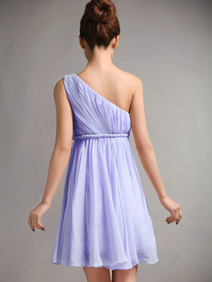 A-Line One Shoulder Draped Short Lavender Bridesmaid Dresses