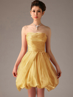 A-Line Tube Top Strapless Short Bubble Gold Bridesmaid Dresses