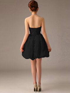Appealing A-Line Tube Top Strapless Black Bridesmaid Dresses