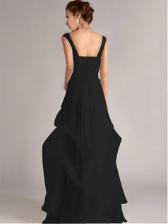 Beautiful A-Line Straps Tube Top Floor-length Black Bridesmaid Dresses