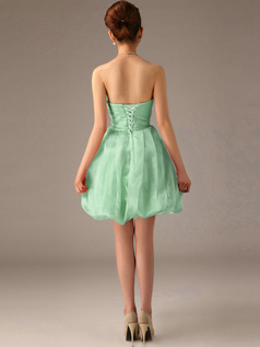A-Line Tube Top Strapless Short Bubble Sage Bridesmaid Dresses