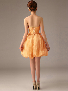 A-Line Tube Top Strapless Short Bubble Orange Bridesmaid Dresses