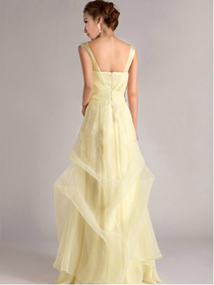 A-Line Straps Tube Top Floor-length Ruffles Daffodil Bridesmaid Dresses