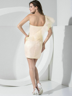 Sheath Organza Falbala One Shoulder Side-draped Champagne Bridesmaid Dresses