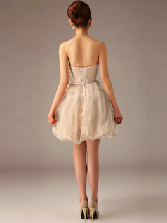 A-Line Tube Top Strapless Short Bubble Champagne Bridesmaid Dresses