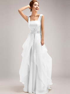 A-Line Straps Tube Top Floor-length Ruffles White Bridesmaid Dresses