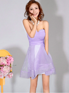 A-Line Sweetheart Strapless Short Lilac Bridesmaid Dresses