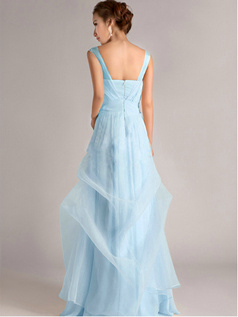 A-Line Straps Tube Top Floor-length Ruffles Light Sky Blue Bridesmaid Dresses
