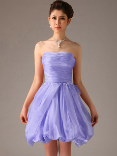 A-Line Tube Top Strapless Short Bubble Lavender Bridesmaid Dresses