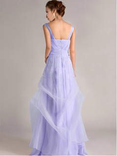 A-Line Straps Tube Top Floor-length Ruffles Lavender Bridesmaid Dresses