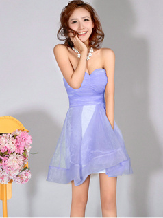 A-Line Sweetheart Strapless Short Lavender Bridesmaid Dresses