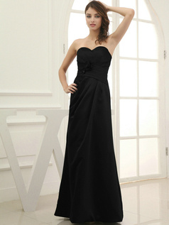 Amazing Sheath/Column Satin Floor-length Flower Black Evening Dresses