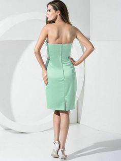 Sheath Satin Tube Top Pockets Short Sage Bridesmaid Dresses
