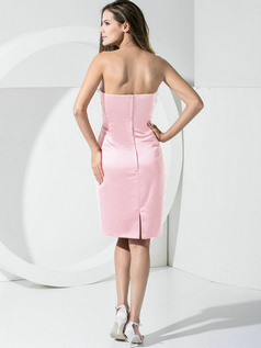 Sheath Satin Tube Top Pockets Short Pink Bridesmaid Dresses