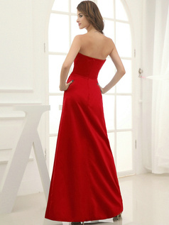 Column Satin Floor-length Flower Sweetheart Red Bridesmaid Dresses