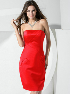 Sheath Satin Tube Top Pockets Short Red Bridesmaid Dresses