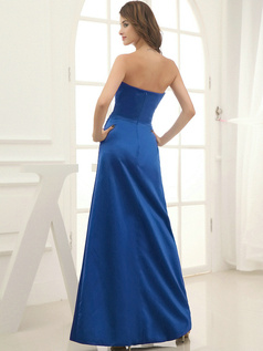Column Satin Floor-length Flower Sweetheart Royal Blue Bridesmaid Dresses