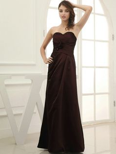 Column Satin Floor-length Flower Sweetheart Chocolate Bridesmaid Dresses