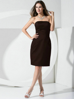 Sheath Satin Tube Top Pockets Short Chocolate Bridesmaid Dresses