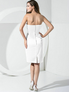 Sheath Satin Tube Top Pockets Short White Bridesmaid Dresses
