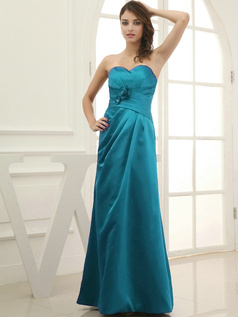 Column Satin Floor-length Flower Sweetheart Blue Bridesmaid Dresses