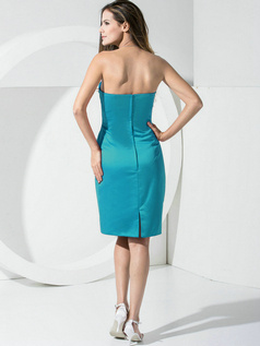 Sheath Satin Tube Top Pockets Short Blue Bridesmaid Dresses