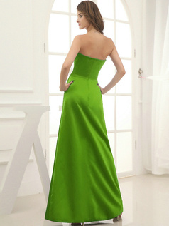 Column Satin Floor-length Flower Sweetheart Green Bridesmaid Dresses