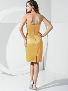 Sheath Satin Tube Top Pockets Short Gold Bridesmaid Dresses