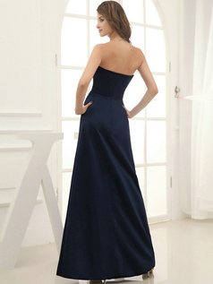 Column Satin Floor-length Flower Sweetheart Dark Navy Bridesmaid Dresses