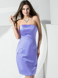 Sheath Satin Tube Top Pockets Short Lavender Bridesmaid Dresses