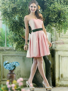 A-line Stretch Satin Sweetheart Knee-length Draped Light Pink Bridesmaid Dresses