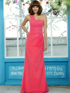 Cute A-line Stretch Satin One shoulder with flower Knee-length Hot Pink Sash Bridesmaid Dresses