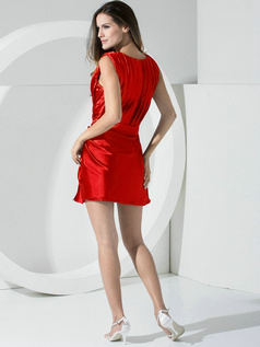 Sheath Stretch Satin Straps Sashes Short Red Bridesmaid Dresses
