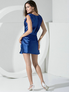 Sheath Stretch Satin Straps Sashes Short Royal Blue Bridesmaid Dresses