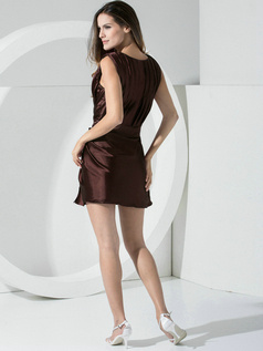 Sheath Stretch Satin Straps Sashes Short Chocolate Bridesmaid Dresses