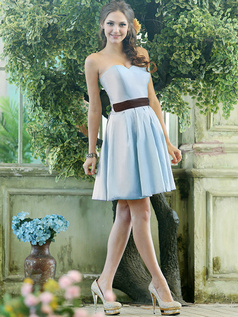 A-line Stretch Satin Sweetheart Knee-length Draped Light Sky Blue Bridesmaid Dresses