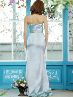 Modest Sheath Stretch Satin Strapless Floor-length Light Sky Blue Sash Draped Bridesmaid Dresses