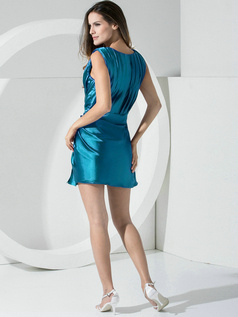 Sheath Stretch Satin Straps Sashes Short Blue Bridesmaid Dresses