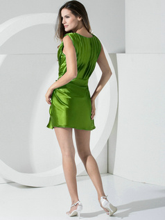 Sheath Stretch Satin Straps Sashes Short Green Bridesmaid Dresses
